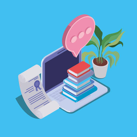 online education technology with laptop vector illustration design Ilustracja