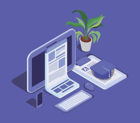 online education technology with tablet vector illustration design Ilustracja