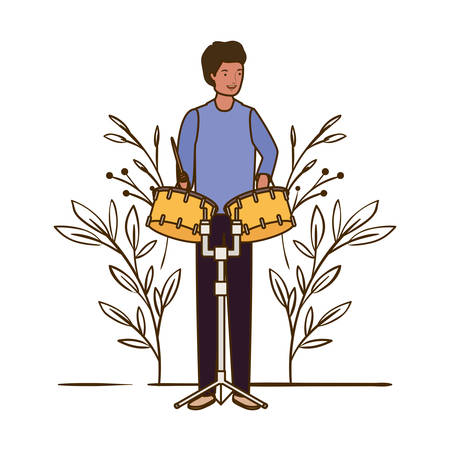 man with timpani and branches and leaves in the background vector illustration design