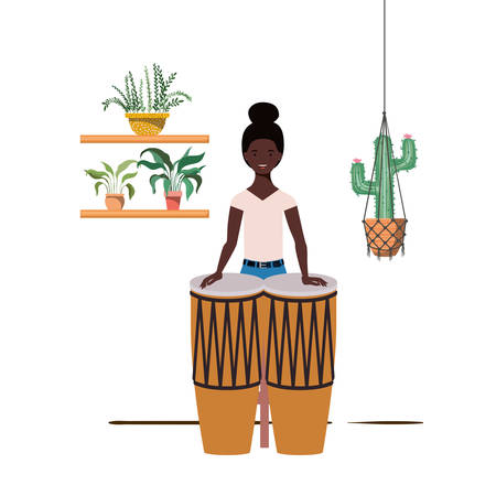 woman with congas and houseplants on macrame hangers of background vector illustration design