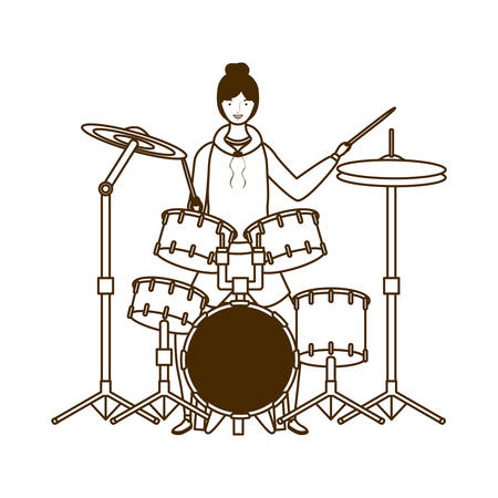 silhouette of woman with drum kit on white background vector illustration design Stock Vector - 129462175