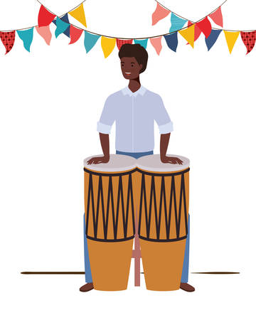 young man with congas on white background vector illustration design Foto de archivo - 129463398