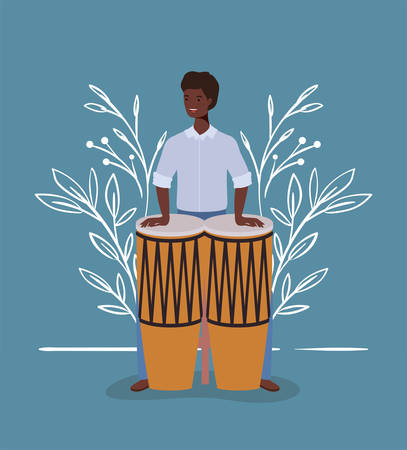 afro woman playing bongos character vector illustration design