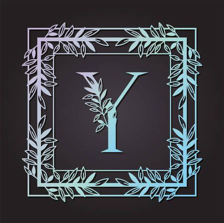 letter Y in square frame with leafs vector illustration design Banque d'images - 129472942