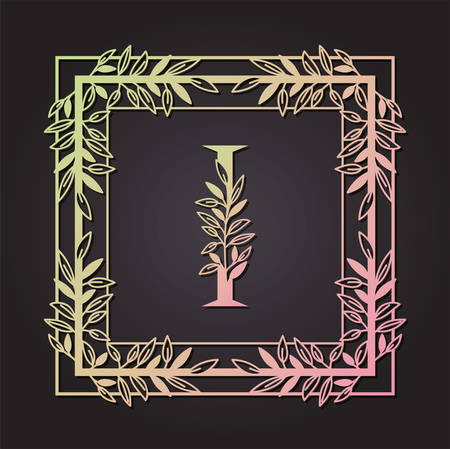 letter I in square frame with leafs vector illustration design Banque d'images - 129472940