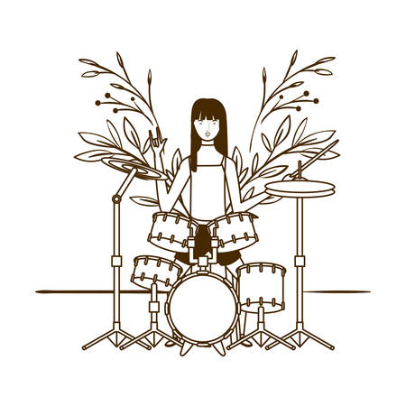 silhouette of woman with drum kit on white background vector illustration design