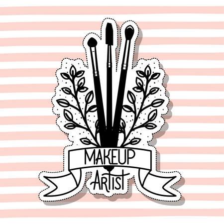 make up brushes accessories in card vector illustration design Illusztráció