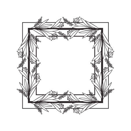 frame with branches and leaves vector illustration design