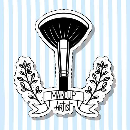 make up brush accessory in floral frame vector illustration design Illusztráció