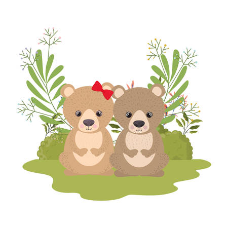 cute couple of bears with wreath vector illustration design