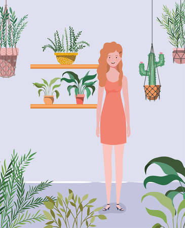 young and beautiful girl in the garden character vector illustration design