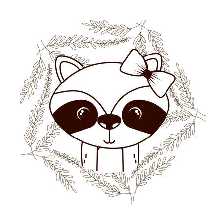 cute and adorable raccoon with wreath vector illustration design Çizim
