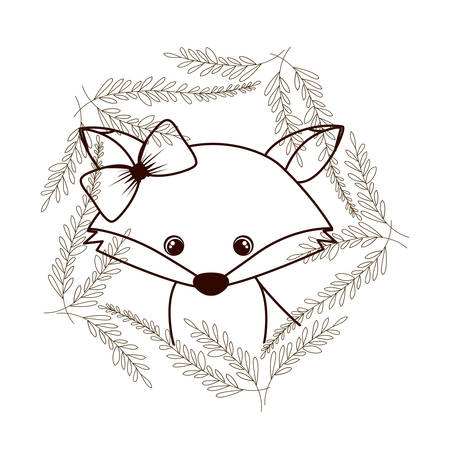 cute and adorable fox with wreath vector illustration design