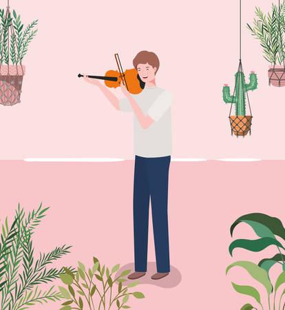 man playing fiddle instrument character vector illustration design Illustration