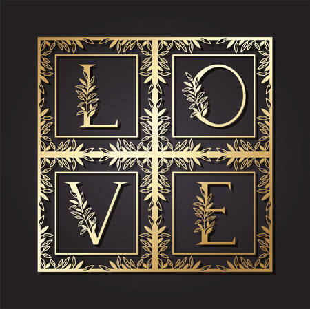 love word in square frame with leafs vector illustration design