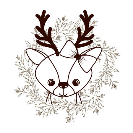 cute and adorable deer with wreath vector illustration design