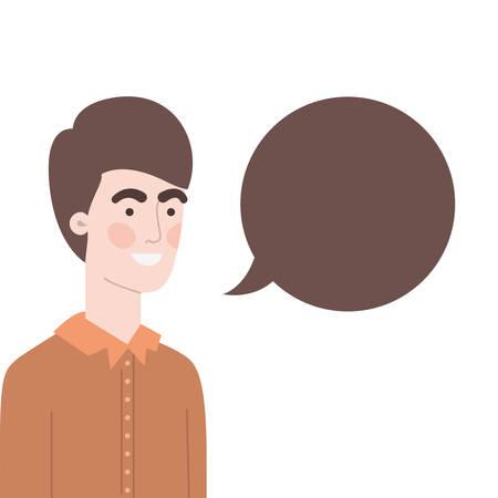 man with speech bubble avatar character vector illustration design Stock Illustratie
