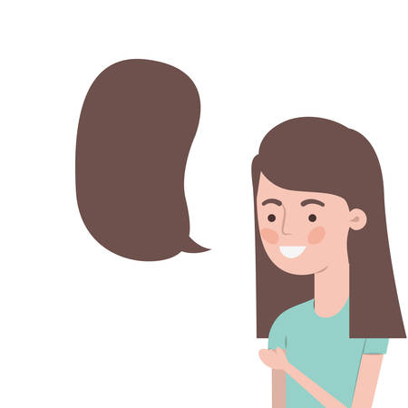 woman with speech bubble avatar character vector illustration design Stock Illustratie