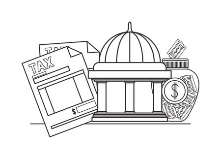 tax document with bank building and money vector illustration design