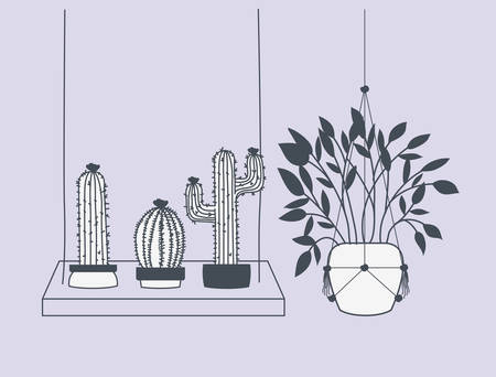 houseplants in macrame hangers and swing vector illustration design Çizim