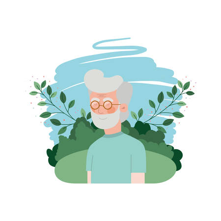 grandfather with landscape avatar character vector illustration design Stock Illustratie