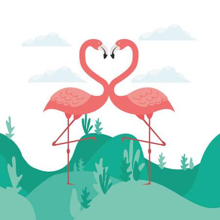 pink flamingo isolated icon vector illustration design Иллюстрация