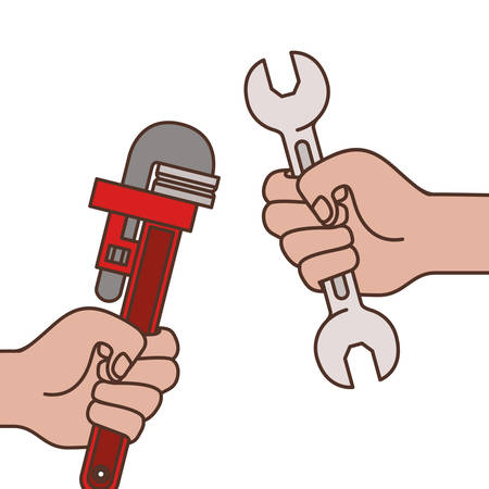 hands with plumber key and wrench icons vector illustration design Stock fotó - 129483477