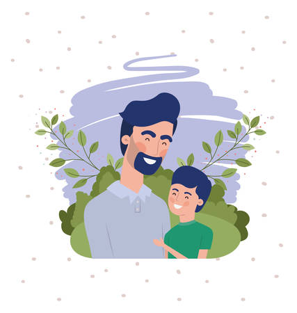 happy fathers day card with dad and son characters vector illustration design Ilustracja