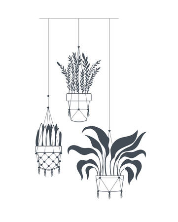 houseplants on macrame hangers icon vector illustration design Stock Illustratie