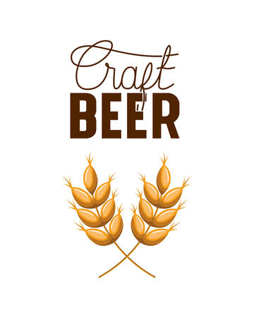 craft beer label with wheat leaves icon vector illustration desing Stock Illustratie