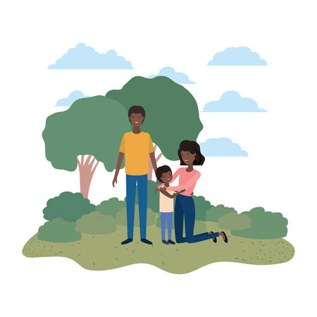 couple of parents with son in landscape avatar vector illustration design
