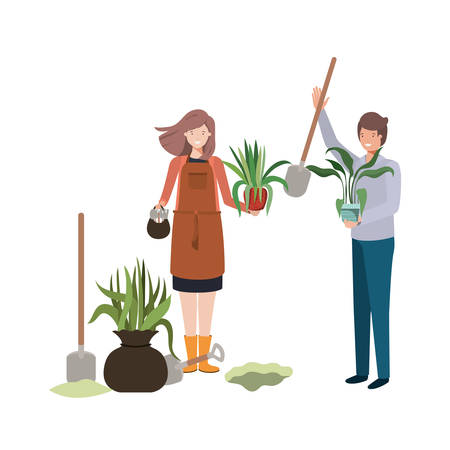 couple with trees to plant avatar character vector illustration design Banque d'images - 129486042
