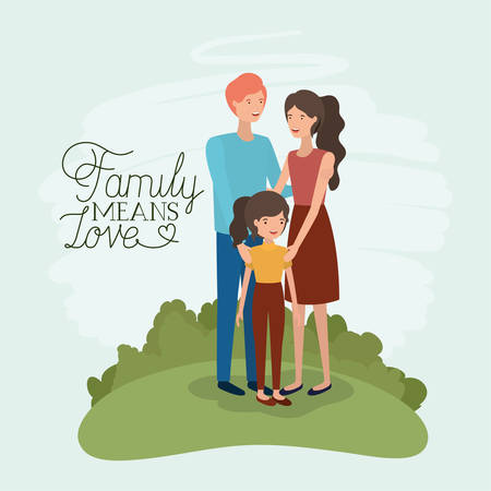 family day card with parents and daughter in the field vector illustration design