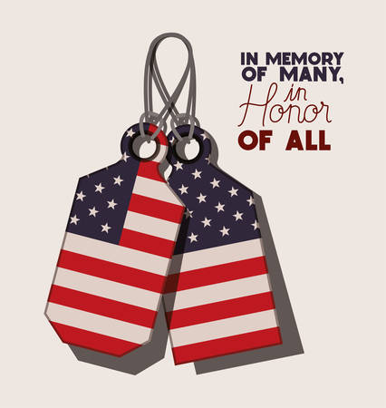 metal plates with usa flag of memorial day vector illustration design
