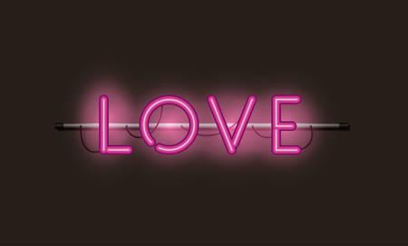 love fonts neon lights vector illustration design