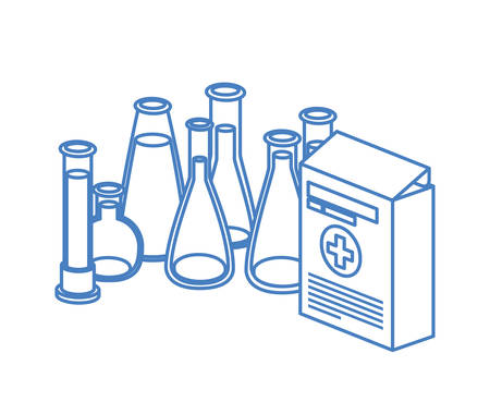 laboratory instruments with medicines in white background vector illustration design