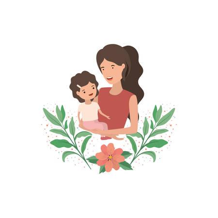 woman with baby avatar character vector illustration design Иллюстрация