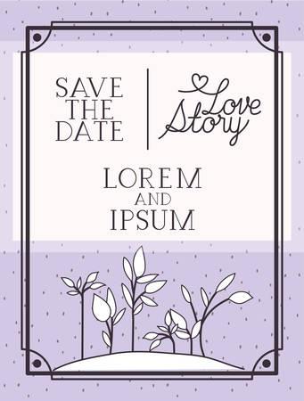 love story card with marine plants ecosystem scene vector illustration design