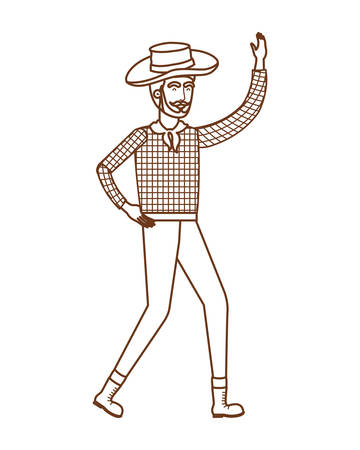 man farmer dancing with straw hat vector illustration design Banque d'images - 129487673