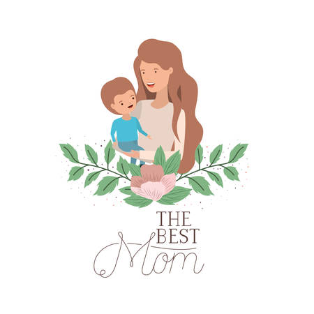 woman with baby avatar character vector illustration design Çizim