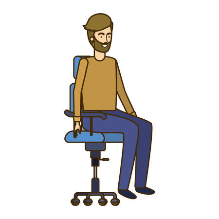 man with sitting in office chair avatar character vector illustration design