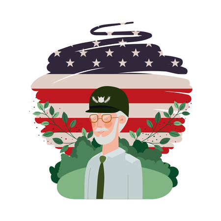 veteran war old man with landscape and united states flag vector illustration design