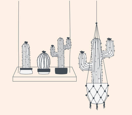 houseplants in macrame hangers and swing vector illustration design 向量圖像