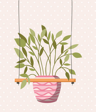 houseplant in macrame hangers vector illustration design