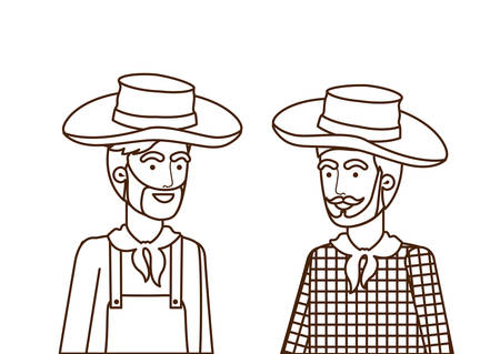 farmers men talking with straw hat vector illustration design Banque d'images - 129488702