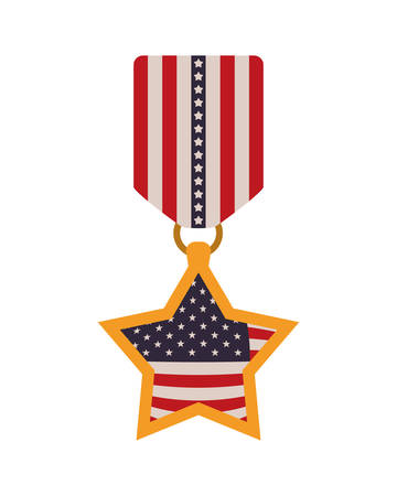 medal with the united states flag icon vector illustration design Illusztráció