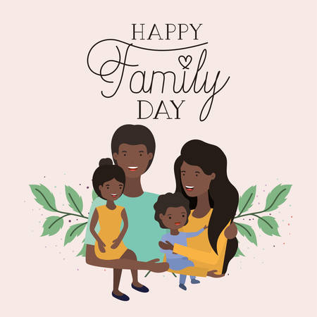 family day card with black parents and kids leafs crown vector illustration design