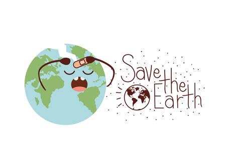 save the earth label icon vector illustration design
