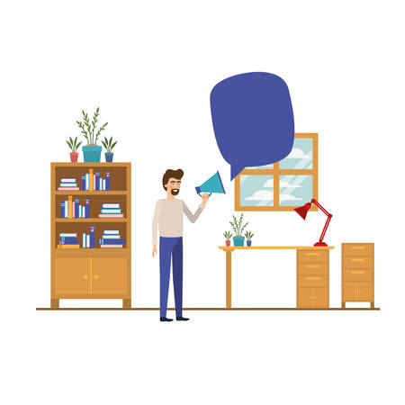 man in the work office with white background vector illustration design