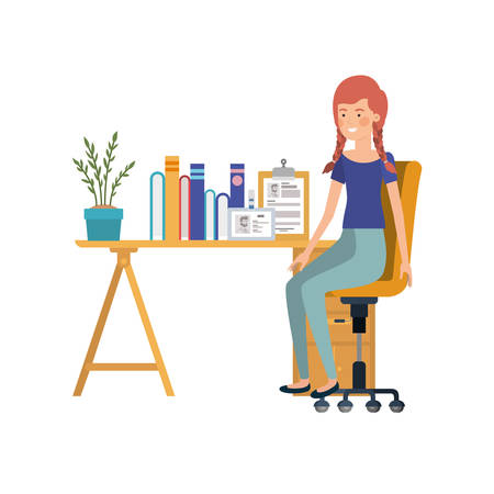 woman sitting in the work office with white background vector illustration design 일러스트